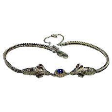 Sapphire Ram Rams Head 18K Gold Bracelet