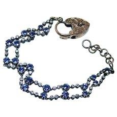 Antique Edwardian Old Miner Mine Diamond Sapphire Bracelet 14K Gold 7.4ct