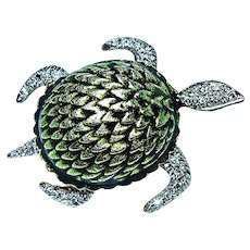 Large Diamond Turtle Green Enamel Brooch Pin 14K Gold Figural Animal
