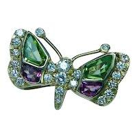 Vintage 18K Gold Tourmaline Diamond Butterfly Brooch Exquisite