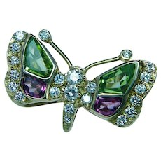Vintage 18K Gold Tourmaline Diamond Butterfly Brooch Exquisite