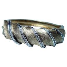 Heavy 46gr Diamond Chunky Cuff Bracelet 14K Gold 1960s Vintage