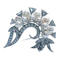 Giant Vintage Trillion Diamond Akoya Pearl 18K White Gold Spray Brooch 2.8ct