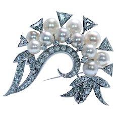 Giant Vintage Trillion Diamond Akoya Pearl 18K White Gold Spray Brooch 2.8ct
