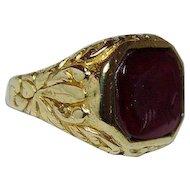Antique Victorian Carnelian Intaglio Mens Ring 18K Gold Signet c1910