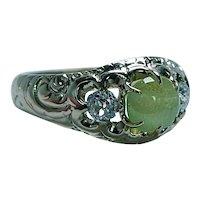 Victorian Chrysoberyl Old Mine Diamond Ring 18K Gold Vintage Estate