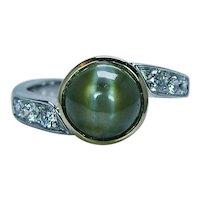 Richard Krementz RKG 1866 Chrysoberyl Cats Eye Diamond Platinum Ring