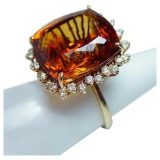 Giant Vintage 18K Gold 41ct Madeira Citrine Diamond Ring Pendant Estate