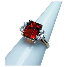 Vintage 18K Gold Diamond Madeira Citrine Ring Designer Signed Estate