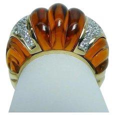 Vintage 18K Gold Citrine Diamond Ring Heavy Estate Fancy Designer Video