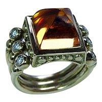 Citrine Sugarloaf Diamond Etruscan Ring 18K Gold Estate Heavy