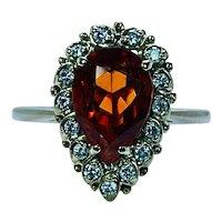 Vintage Madeira Citrine Diamond Ring 18K Gold Estate Designer Signed
