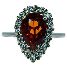 Vintage Madeira Citrine Diamond Ring 18K Gold Estate Designer Signed