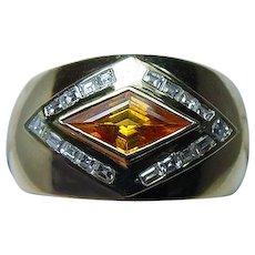 Vintage 18K Gold Asscher Diamond Madeira Citrine Ring  Heavy Estate