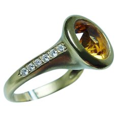 Vintage 18K Gold Citrine Diamond Ring Heavy Designer Estate