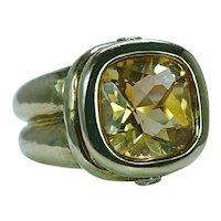 Seidengang Citrine Diamond Ring 18K Gold Designer Estate Heavy 21gr
