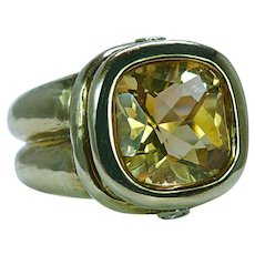 Seidengang Citrine Diamond Ring 18K Gold Designer Estate Heavy 21gr