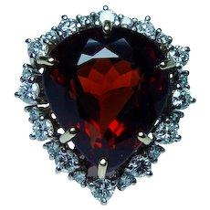 Designer H. Stern 18K Gold Platinum Vintage Heart Madeira Citrine Diamond Ring Signed