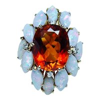 Giant Designer H. Stern 18K Gold Madeira Citrine Opal Diamond Ring Size 9.25