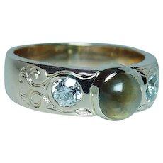 Vintage Cats Eye Chrysoberyl Old European Diamond Ring 14K Gold Estate