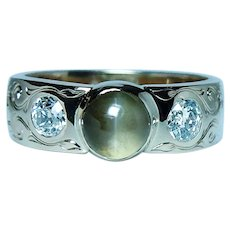 Vintage Chrysoberyl Cats Eye Old European Diamond Ring 14K Gold Estate