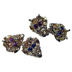 Art Nouveau Ruby Sapphire Devil Satan Lucifer Cufflinks 14K Gold