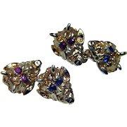 Art Nouveau Ruby Sapphire Devil Satan Lucifer Cufflinks 14K Gold Estate