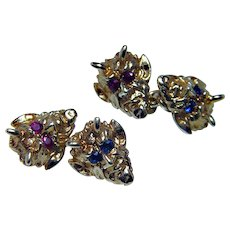 Art Nouveau Ruby Sapphire Devil Satan Lucifer Cufflinks 14K Gold Estate