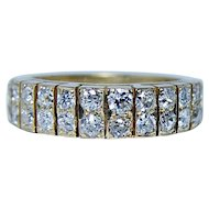 Vintage 1.30ct Old European Diamond 2 Row Ring Band 18K Gold Estate Jewelry