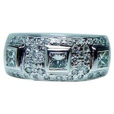 Vintage  Princess Diamond Ring 18K White Gold Heavy Estate 1.4ct VS-G