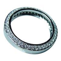 Vintage 18K White Gold Diamond Eternity Ring Band Size 6.5