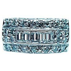Vintage Baguette Diamond 14K White Gold Etched Ring GIA