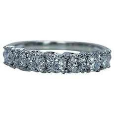 Diamond Anniversary 7 stone Ring Band 14K White Gold Vintage Estate