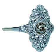 Edwardian Platinum 18K Gold Old Mine Champagne Diamond Ring