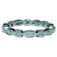 Diamond Eternity Mil-grain Ring Band 14K White Gold Size 6.5
