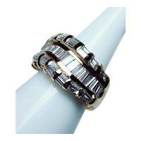 Vintage 18K Gold Baguette Diamond Ring Heavy ITALY