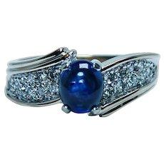 Vintage 14K Gold Sapphire Diamond Ring Band Estate