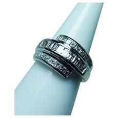 1.60ct VS-G Baguette Princess Diamond 14K White Gold Ring