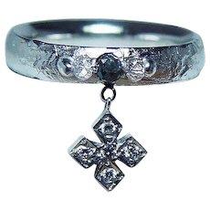 Black Diamond 18K White Gold Dangle Charm Designer Signed