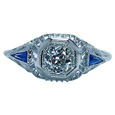 Art Deco European Diamond French Sapphire Filigree Ring 18K White Gold .54ct