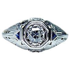 Art Deco European Diamond French Sapphire Ring 18K White Gold 1920s