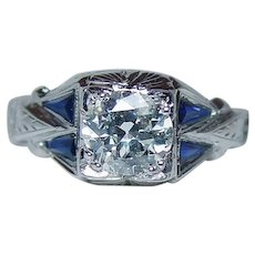 ART DECO 1.03ct Old Mine Diamond French Sapphire Engagement Ring 18K White Gold GIA