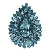 Vintage 2.5ct Pear Baguette Ballerina Diamond Platinum Ring Heavy Estate