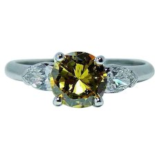 Fancy Yellow Canary Diamond 3 stone Platinum Engagement Ring 1ct center GIA