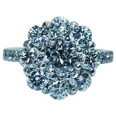 Vintage Diamond 14K White Gold Halo Cocktail Ring Estate Certified Appraisal GIA