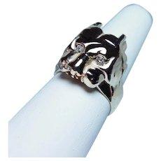 Massive Art Nouveau Old European Diamond Dog Ring 14K Gold 1930s