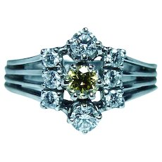 Vintage 14K White Gold Fancy Canary Yellow Diamond Ring