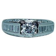 Platinum 1.6ct VS-G Baguette Diamond Ring Designer