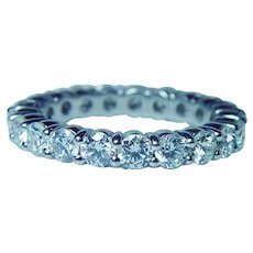 Platinum  Diamond Eternity Ring Band 2.3ct VS-FG Size 6