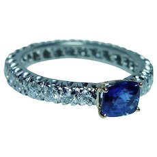Ceylon Sapphire Cushion Diamond Eternity Ring Band Platinum Size 7